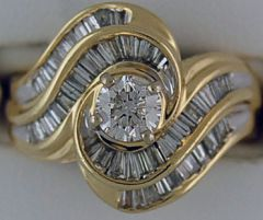 Ladies Round and Baguette Cut Diamond Cluster Ring