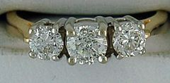 Ladies 1ctw 3 Round Cut Diamond Ring