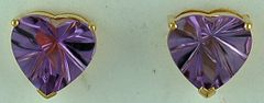 Heart Cut Purple Stone Stud Earrings