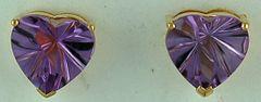 Heart Cut Purple Stone Stud Earrings