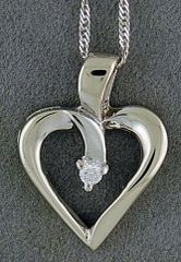 Solitaire Diamond Heart Pendant on a Chain