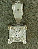 1/3ct Princess Cut Diamond Solitaire Pendant