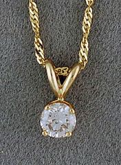 3/8ct Round Cut Diamond Pendant on a Chain