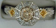 Ladies 3/4ctdw Champaign Halo Ring