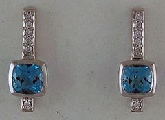 Ladies 1/10ctdw Diamond and Blue Stone Earrings