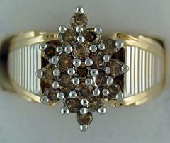 Ladies 1ctw Yellow Diamond Cluster Ring