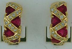 3ctgw Ruby and Diamond Hoop Earrings
