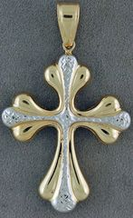 Two-Tone Puff Cross Pendant