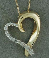 1/6ctw Diamond Heart Pendant on a Chain