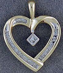 Ladies 1/5ctw Diamond Heart Pendant