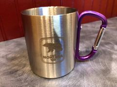 Stainless Steel Grizzly Carabiner Mug (assorted handle color)