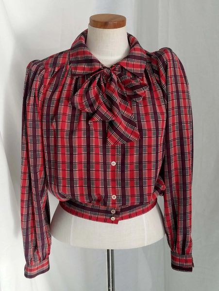 81c1ed38 Women's 1980s Liz Claiborne Red Plaid Shirt with Scarf | Vintage Swank - Vintage  Clothing, Mid-Century Modern Furniture