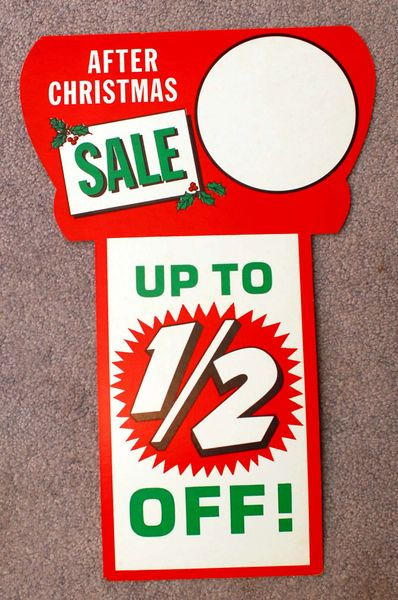 1960s After Christmas Half Off Sale Double Sided Store Sign