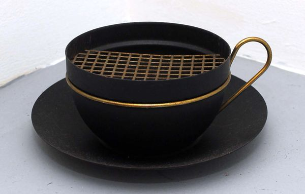 1950s Black Metal Coffee Cup And Saucer Planter Vintage Swank