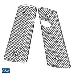 1911 PX-09 Standard Size - Pistol Grips (Golf Ball Dimple Pattern, Semi-Gloss Black)