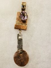 Amethyst with mixed metals pendant