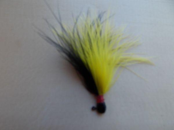 Weaver's Premium Marabou Jigs/ Black & Yellow Black Head, Red Thread