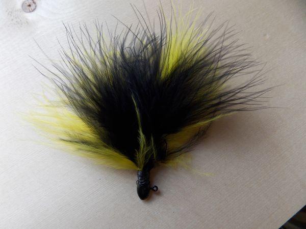 Weaver's Premium Marabou Jigs/ Black & Yellow/ Gold Head, Black Thread