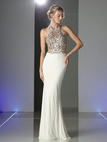 Cinderella Divine Cm1511 Sequined Halter Top Evening Dress Pinknyellow