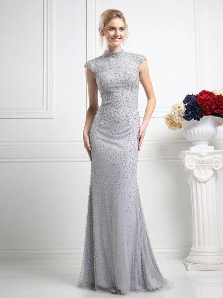 Cinderella Divine Kd085 Long Beaded Evening Dress Pinknyellow