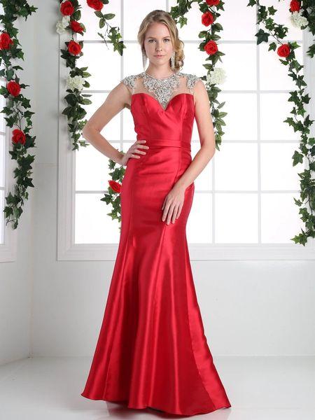 Cinderella Divine Cj221 Satin Trumpet Formal Gown With Beaded Collar