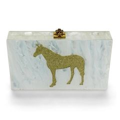 Metallic Horse Clutch