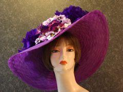 Purple Pansies Derby Hat