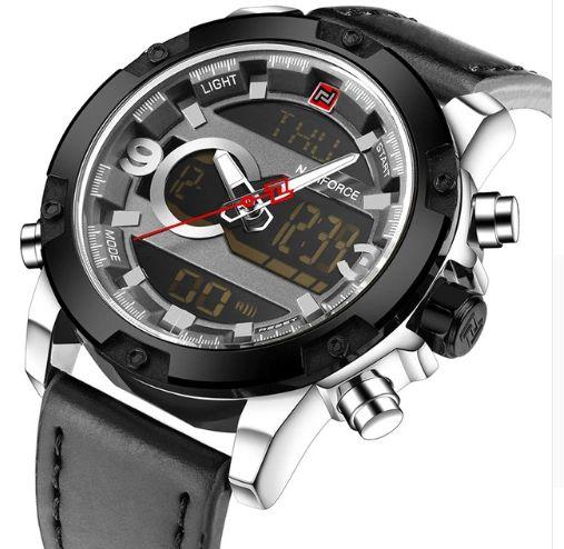 8bf3dd78807 NAVIFORCE Marca de Luxo de Couro Dos Homens Analógico Digital Sports  Relógios dos homens Do Exército