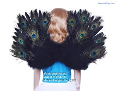 Angel of Pride, Medium, Peacock/Black feather wings