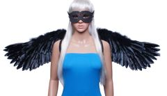 Angel of Desire, Large, Black feather wings w/halo and mask set