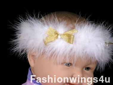 White Marabou Elastic Halo w/Golden Bows and Pearls