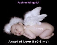 Angel of Love, Small, White feather wings w/halo