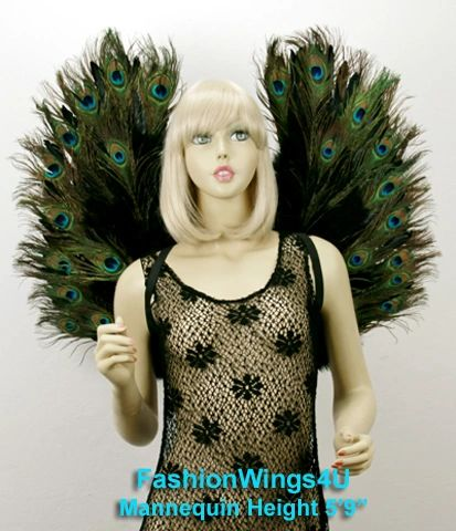 Angel of Pride, Large, Peacock feather wings