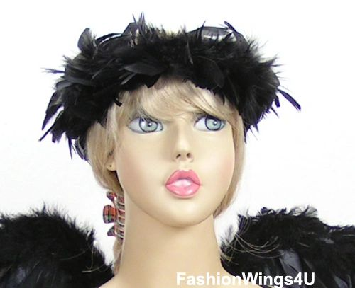 Black Feather Elastic Halo for Teens and Adults