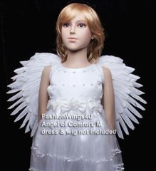 Angel of Comfort, Medium, White feather wings w/halo (Duo Use pointing up or down)