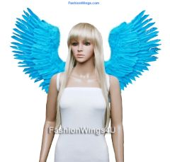 Angel of Victory, Large, Aqua Blue feather wings