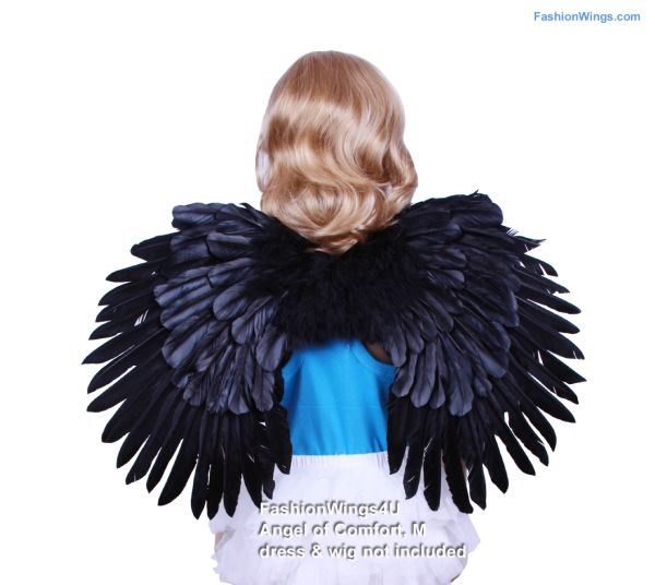 Angel of Comfort, Medium, Black feather wings (Duo Use pointing up or down)