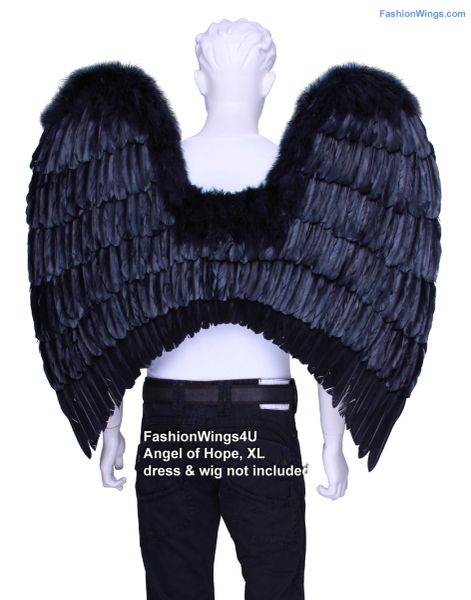 Angel of Hope, Extra Large, Black feather wings w/halo