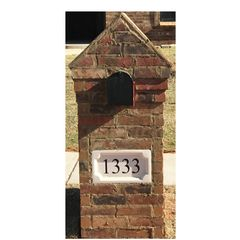 "Personalized Address Plaque. 9""tall X 16""wide X 3""thick. Medallion Style. Engraved Cast Stone. Painted and Sealed House Numbers"