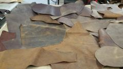 leather scraps in a 4-6 oz. weight (nice big piece's) medium brown oil tanned B-6