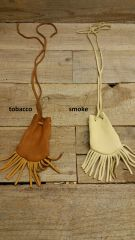 Deerskin leather pouch/ Medicine Bag, soft and supple with fringe C-10 Tobacco or Smoke