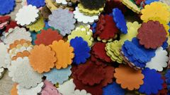 Leather Rosettes/concho's/ 5oz or 1/8 thick./ bright Color / 50 pcs