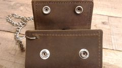Sm Leather Motorcycle Trucker/ Biker american made Leather Trifold Wallet/ chain-H-13