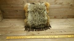 red fox and coyote fur pillow V1-4