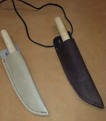"9"" Children's wooden Knifes with real leather sheath"
