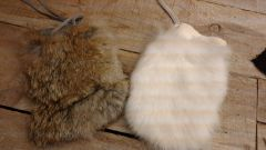 Genuine Rabbit Skin bag/Fur pouch / Crafts, Leathercraft-H7/8
