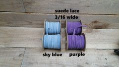 Genuine Leather / Suede Lace,3/16 wide sky blueor purple 25 ft Bracelet Cord/Necklace