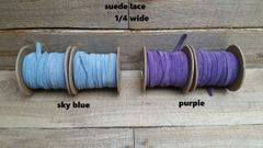 Genuine Leather / Suede Lace,1/4 wide sky blue or purple 25 ft Bracelet Cord/Necklace