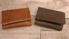 Small Leather Motorcycle Trucker / Biker american made Leather Trifold Wallet-H11