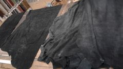 black suede leather hides/ Z-2-20